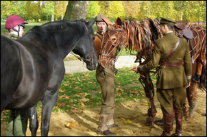 War Horse Joey meets The Household Cavalry's musical ride horse Elizabeth