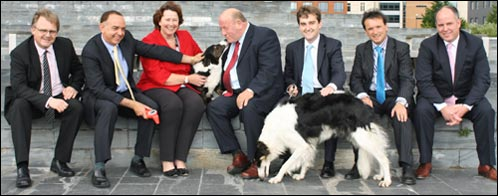 Welsh Conservative Assembly Members (from L to R): Mark Isherwood, Nick Bourne, Angela Burns, Andrew R T Davies, Nick Ramsay, Alun Cairns and Brynle Williams with Milo the Corgi and Vanna the Borzoi
