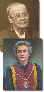 Connie Ford (top) and Dame Olga Uvarov, first woman president of the RCVS.