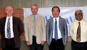 [L-R] Members of the VGG meet in Mumbai, India: Prof Richard Squires, Prof Michael Day, Prof Hajime Tsujimoto and Dr Umesh Karkare.